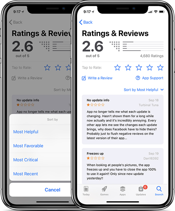 iOS 11.3 App Store Reviews (Bildquelle: Apple/MacRumors)